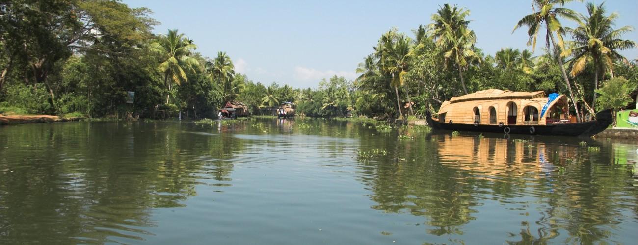 Image of boat houses in kumarakom