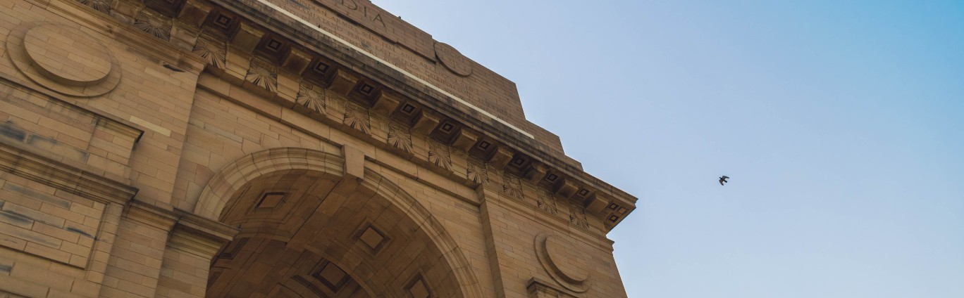 India Gate with blue sky