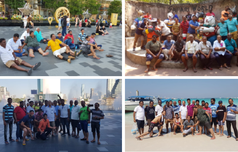 Groups of people posing for picture